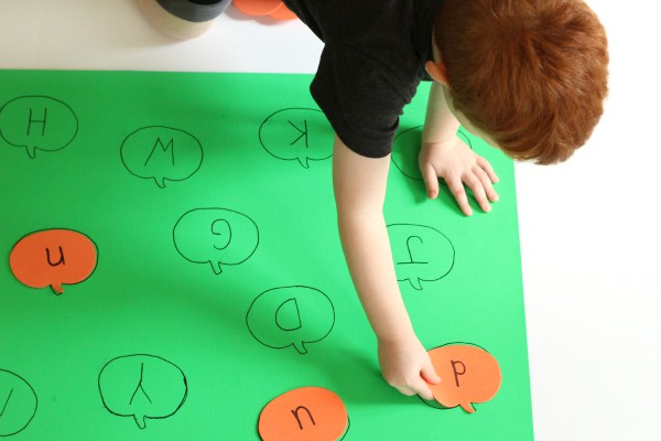 Pumpkin theme preschool alphabet activity.