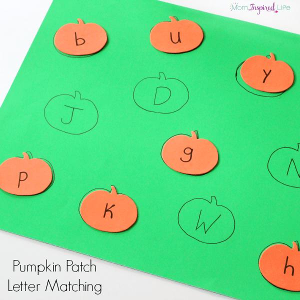 Pumpkin alphabet activity for preschool.