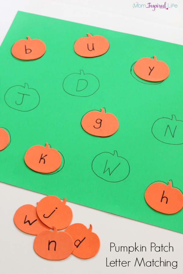 Pumpkin alphabet activity for preschoolers. A fun way to practice letter identification and letter matching.