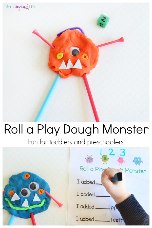 Activity from Fun Learning for Kids. Play dough monster activity for learning numbers and counting. Includes printable recording sheet! Perfect for toddlers and preschoolers.