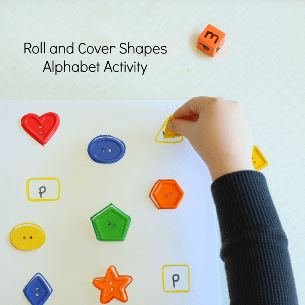 Learning letters and shapes with a hands-on matching activity. Teaching shapes and letters.