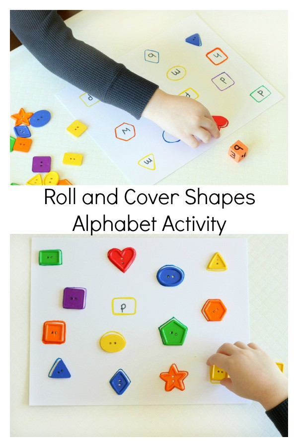 Roll and cover shapes activity that also teaches letter recognition and could be used for letter matching.