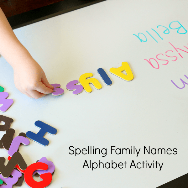 Learning to spell family names activity for preschool.