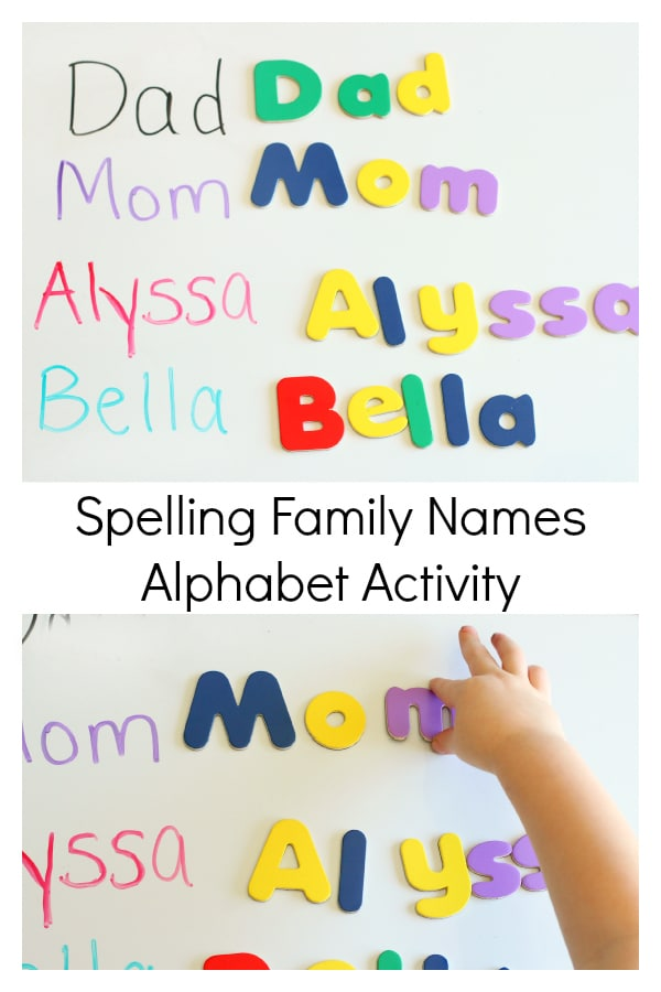 Practice letter recognition while learning family names!