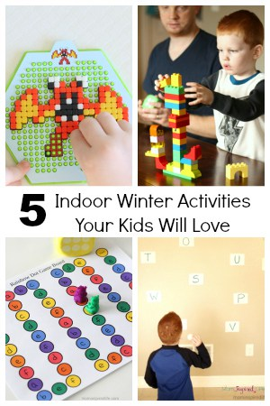 Indoor winter activities for kids! Fun learning activities for kids! Qixels, LEGO, Alphabet Activities and more!