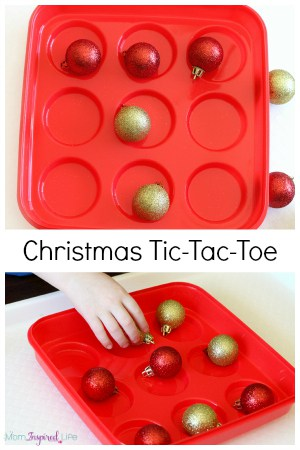 Christmas Tic Tac Toe game that is hands-on and fun for all ages! It's a great Christmas party game!