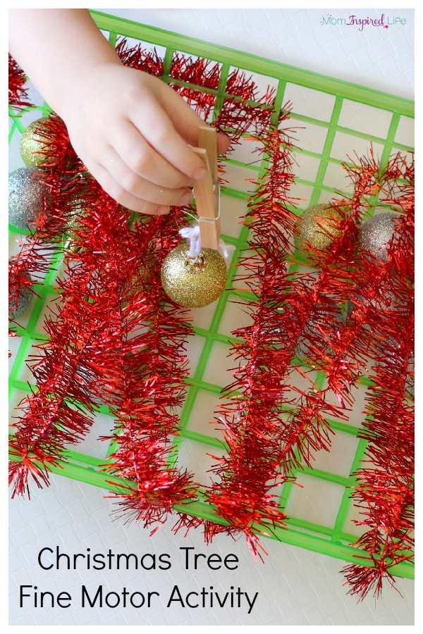 Christmas tree fine motor activity basket! A fun Christmas activity for kids. A fun Christmas party game!