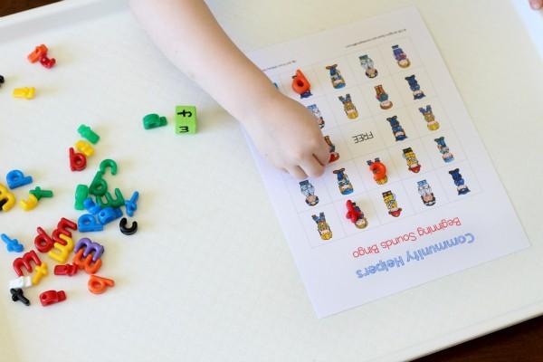 Community helpers beginning sounds bingo.