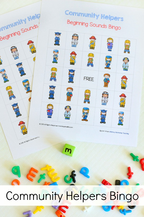 Community helpers bingo activity that teaches letters and beginning sounds. A fun neighborhood theme alphabet activity.