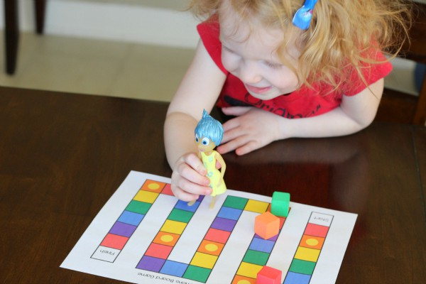 Teaching toddlers about emotions with an Inside Out board game!