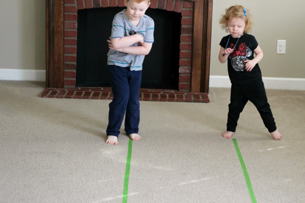 Simple gross motor movement activity based on the book Madeline.
