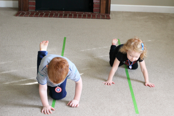 Movement game with tape lines.