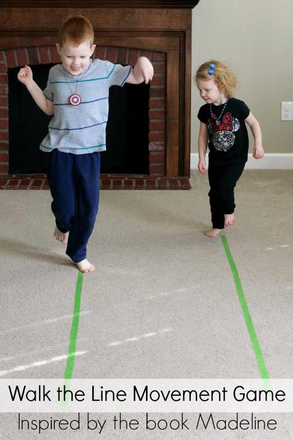 Madeline book inspired movement activity. Gross motor fun for toddlers, preschoolers and kids.