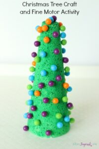 Christmas tree craft with push pins. A Christmas fine motor activity kids will love!
