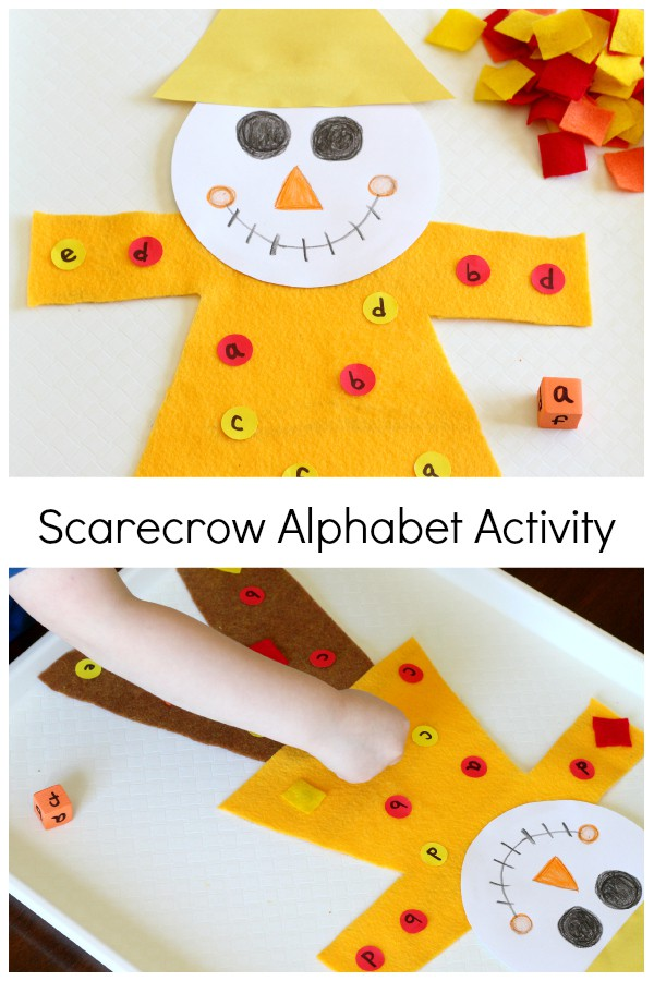 Scarecrow alphabet activity. A fun roll and cover alphabet game for fall.