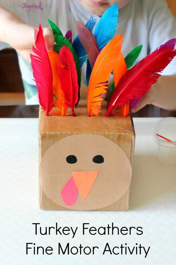 Thanksgiving turkey fine motor activity for toddlers and preschoolers that teaches color recognition, counting and patterning!