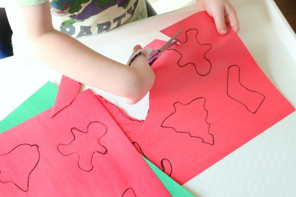 Christmas fine motor activity. A Christmas craft activity. Kid-made decorations.