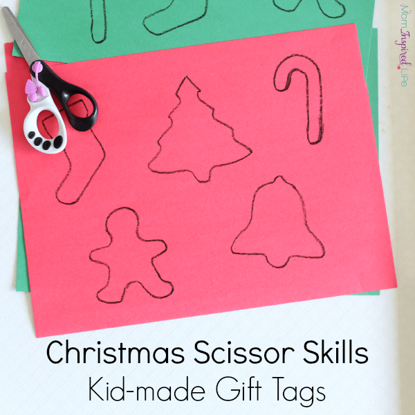 Christmas scissor skills practice. Kid-made gift tags or decorations!