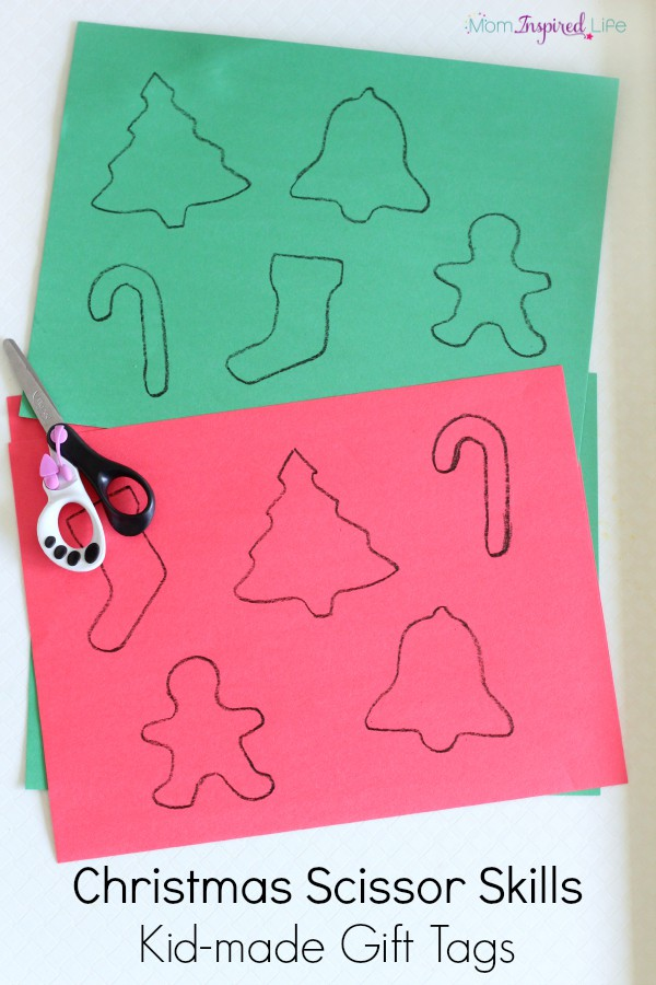 Christmas scissor skills and cutting practice. A fun and simple Christmas craft. Kid-made gift tags.