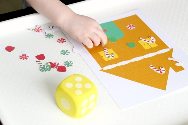 Christmas counting activity with a gingerbread man theme.