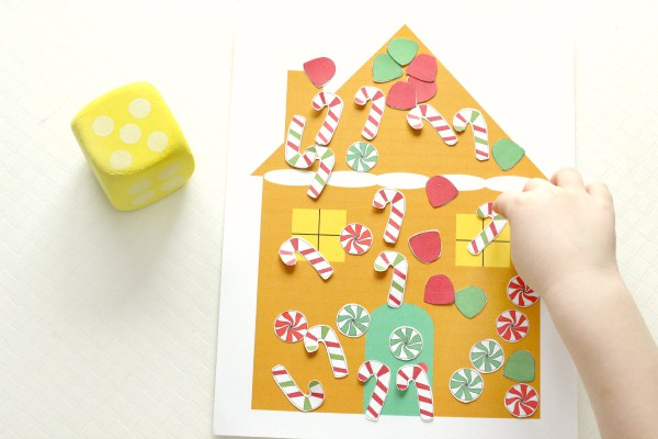 Gingerbread house counting activity and math game for preschoolers.