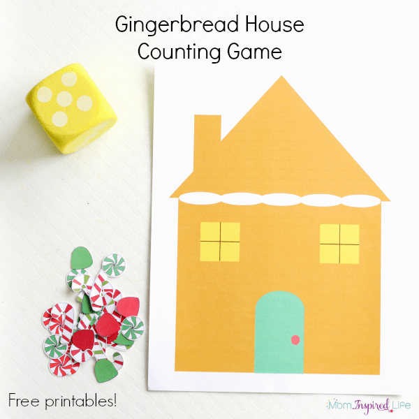 Gingerbread house counting game for toddlers and preschool children.