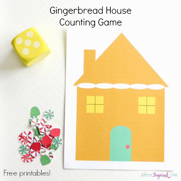 Gingerbread House Counting Game on Bug Jar Math Printables