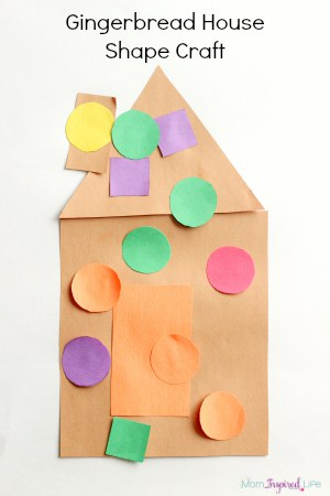 Gingerbread house shape craft for toddlers and preschoolers. A toddler Christmas craft.