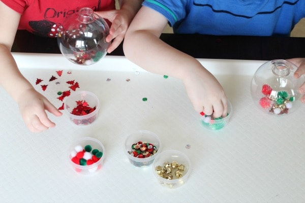Preschool Christmas ornament making station.