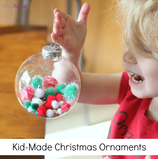 Kid-Made Christmas ornament for toddlers and preschoolers to make.