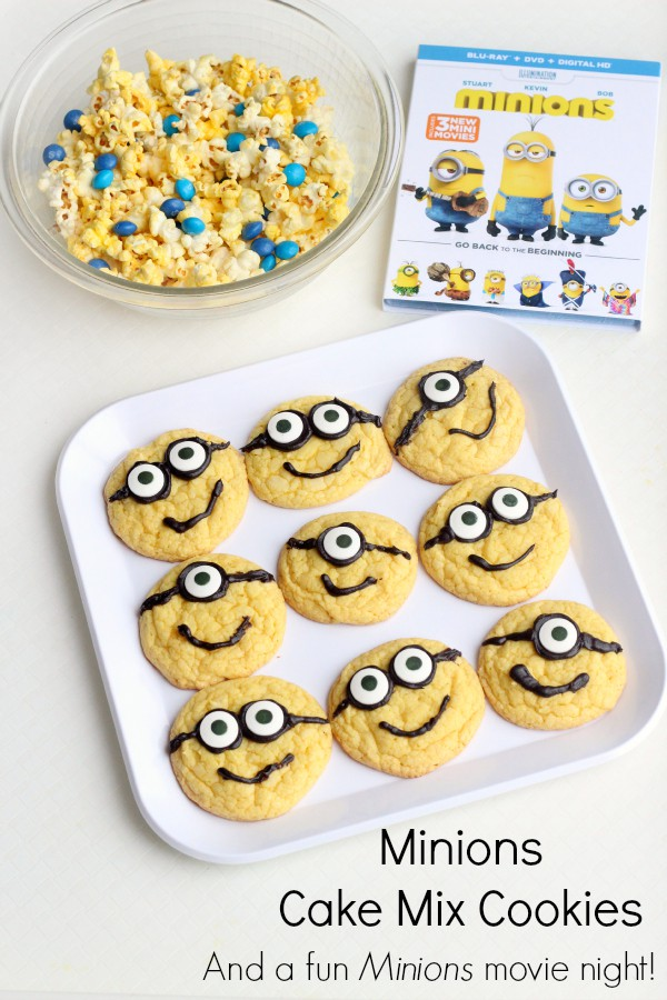 Easy Minions cake mix cookies and other part ideas for a fun movie night!