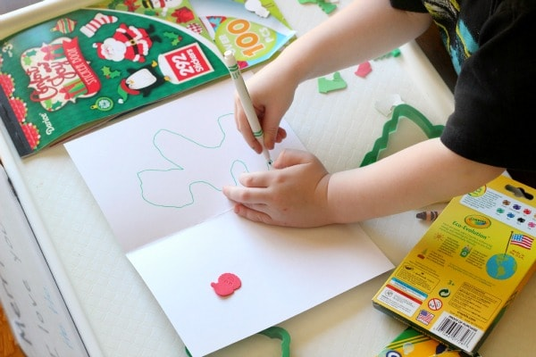 A Christmas writing activity for young kids. Making Christmas cards for family.
