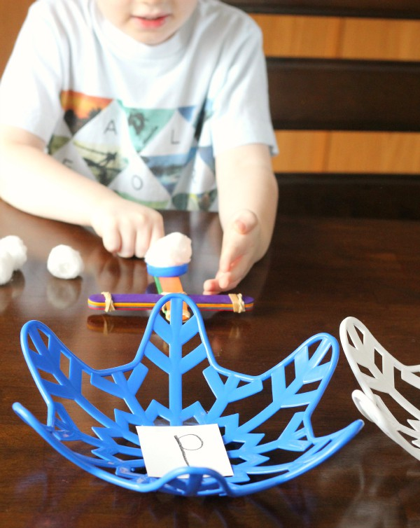 A fun winter alphabet activity for toddlers and preschoolers. Teach letters while learning about catapults.
