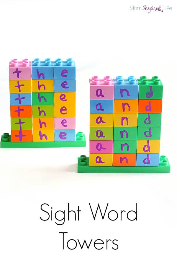 LEGO sight word towers making learning sight words fun and hands-on! A cool literacy activity for kids!