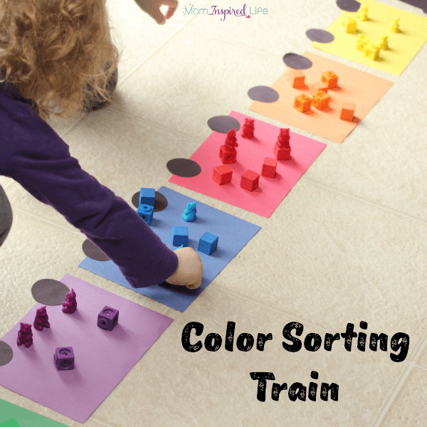 Learning colors with a color sorting train. A great activity for The Little Engine That Could!