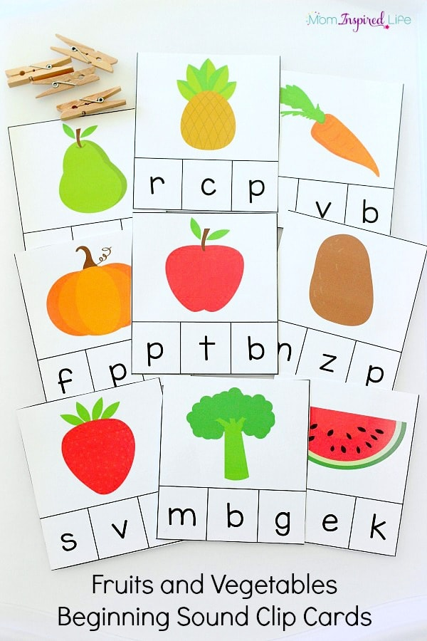 Beginning sound clip cards that teach letters and letter sounds. These are a great way to teach healthy eating habits as well.
