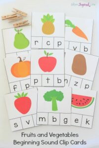 Fruits and Vegetables Beginning Sound Clip Cards