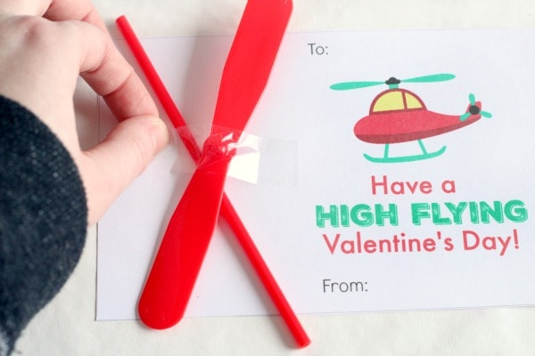 Printable Valentines for kids. Helicopter Valentine's Day cards.