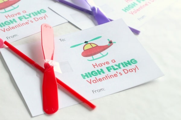 Printable helicopter valentines. Preschool valentines. Kid-made valentines.