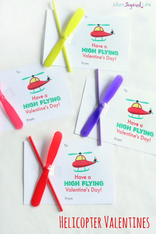 Helicopter Valentines for Kids. Have a high flying Valentine's Day with printable! A fun Valentine favor.