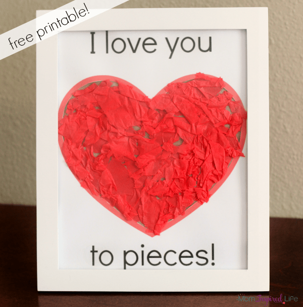 Valentine's Day heart craft with free printable.