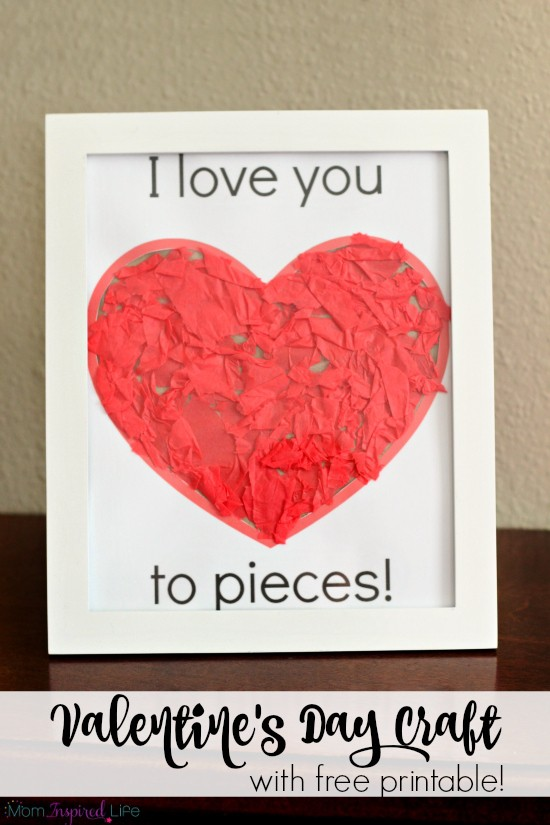 I love you to pieces Valentine's Day craft activity for toddlers, preschoolers and young kids. Includes a free printable! Developing fine motor skills.