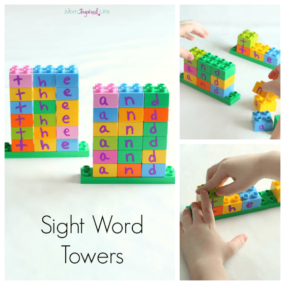 Learning sight words with LEGO DUPLO towers.