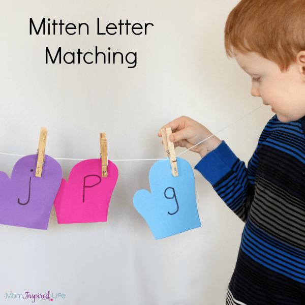 Winter mitten letter matching alphabet activity.