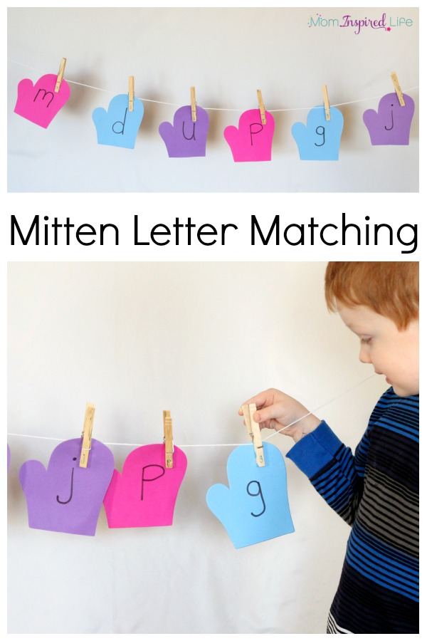 Winter mitten letter matching alphabet activity on a clothesline. Develop fine motor skills while learning letters!