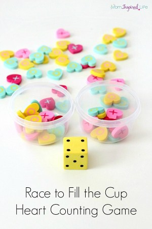 Race To Fill The Cup Counting Game With Mini Erasers