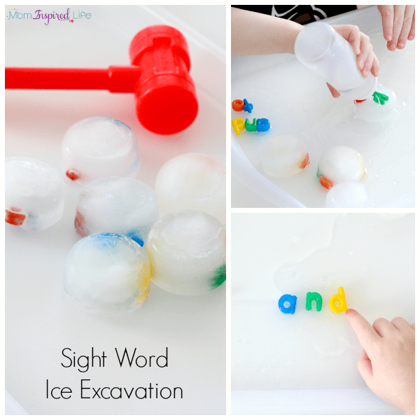 Sight word ice excavation. Hands-on way to teach sight words.