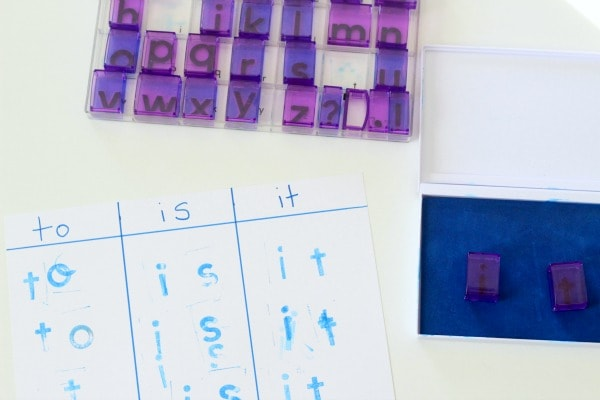 Teaching sight words to kids with alphabet stamps.