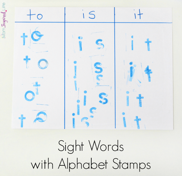 Teaching sight words with alphabet stamps. A hands-on literacy activity for kids.
