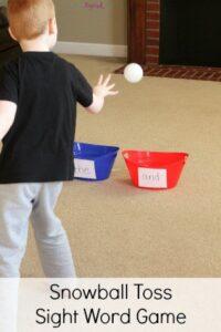 Snowball Toss Sight Word Game